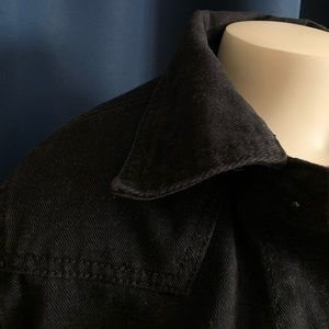 Black Faux Sherpa Lined Denim Jacket